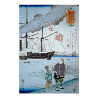 Foreigners Ship, Hiroshige Japanese Fine Art Poster