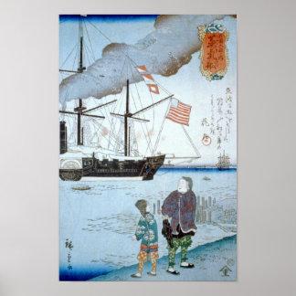 Foreigners Ship, Utagawa Hiroshige Ukiyoe Fine Art Print