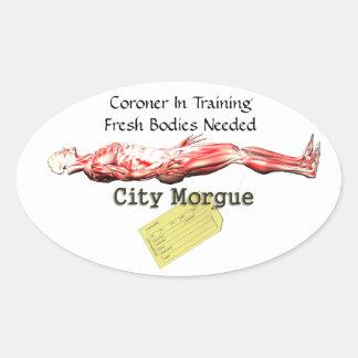 Forense en el entrenamiento calcomanía ovaladas personalizadas