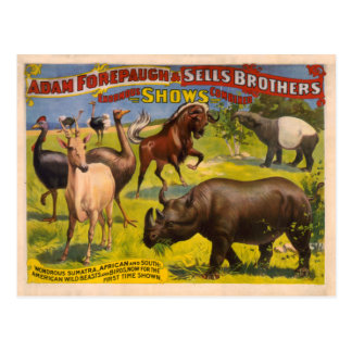 Forepaugh and Sells Wondrous Beasts Circus Poster Postcard