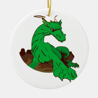 Foreshortened green dragon.png ceramic ornament
