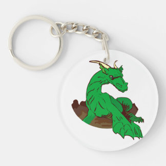 Foreshortened green dragon.png keychain