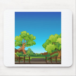 Forest and bridge mouse pad