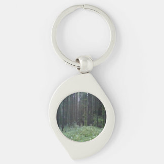Forest and grass Silver-Colored swirl metal keychain