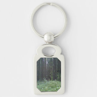 Forest and grass Silver-Colored rectangular metal keychain