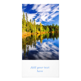 Forest and sky reflecting in lake customized photo card
