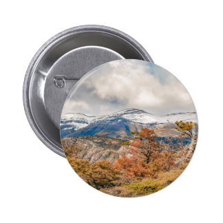 Forest and Snowy Mountains, Patagonia, Argentina Pinback Button