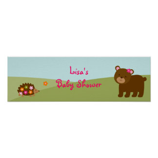 Forest Animal Baby Girl Banner Sign Print