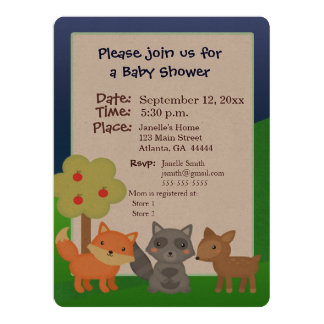 Forest animal baby shower invitation