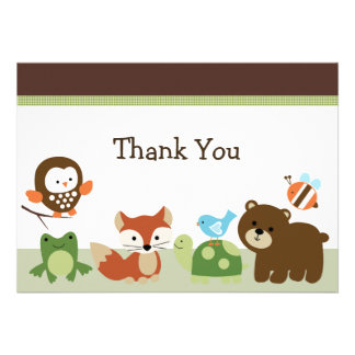 Forest Animal Friends Baby Shower Thank you card