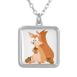 Forest Animal Squirrel Silver Plated Necklace