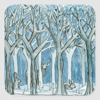 Forest Animals Deer Winter Trees Watercolor Square Sticker