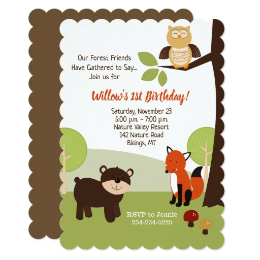 Forest Animals Kids Birthday Invitation