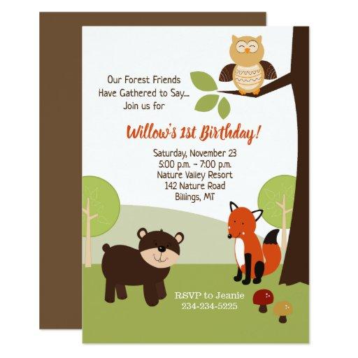 Forest Animals Kids Birthday Invitation