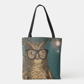 Forest Animals Owl Moon and Jupiter Tote Bag