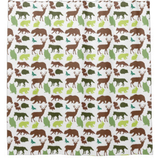 Forest Animals Silhouettes Shower Curtain