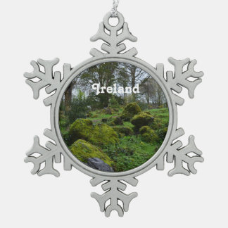Forest at Blarney Castle Snowflake Pewter Christmas Ornament