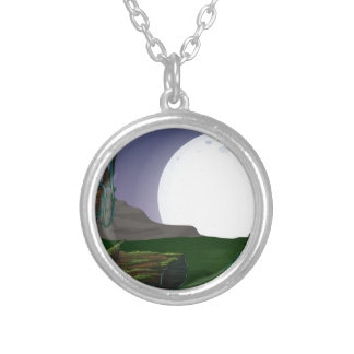 Forest at night round pendant necklace