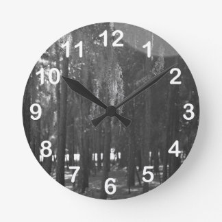 Forest at Sholom Park in Black and White Round Clock