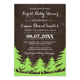 "Forest Baby Shower Invites 5"" X 7"" Invitation Card"