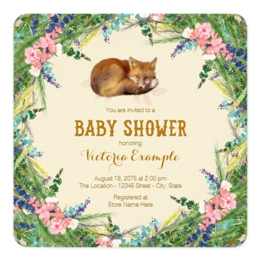 forest baby woodland fox baby shower card zazzle