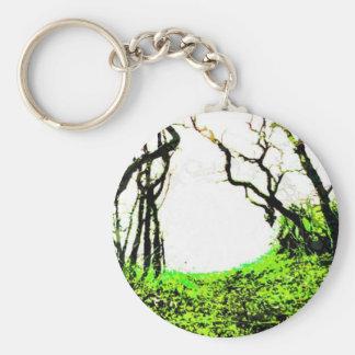 Forest Basic Round Button Keychain