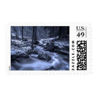 Forest Brook Swedish Winter Stream Woods Stamp