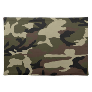 forest camo print camouflage pattern army military cloth placemat