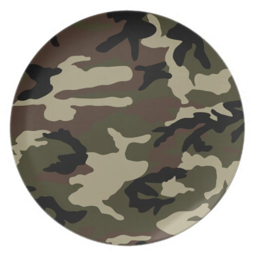 forest camo print camouflage pattern army military party plates