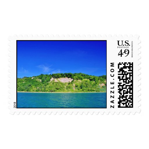 Forest Cliffs by the Lake Stamp
