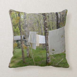 Forest - Clothesline - Throw Pillow