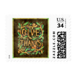 """Forest Colors Fall """"Give Thanks"""" Owl, Squirrels Postage"""