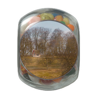Forest cottage glass candy jar