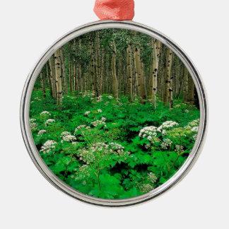 Forest Cow Parsnip Quaking Aspen Metal Ornament
