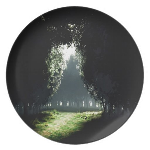 Forest Darkness To Light Party Plate