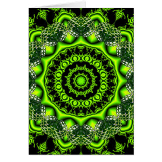 Forest Dome Mandala, Abstract Green Woods Greeting Cards