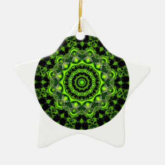 Forest Dome Mandala, Abstract Green Woods Ceramic Ornament