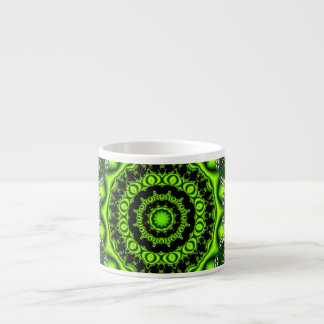 Forest Dome Mandala, Abstract Green Woods Espresso Cup
