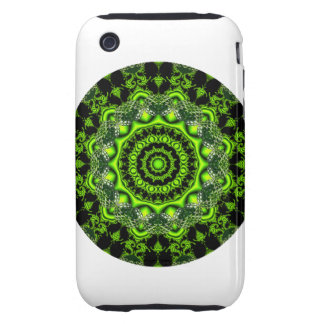 Forest Dome Mandala, Abstract Green Woods iPhone 3 Tough Cover