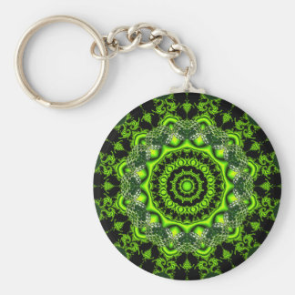 Forest Dome Mandala, Abstract Green Woods Keychain