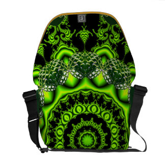Forest Dome Mandala, Abstract Green Woods Messenger Bag