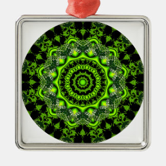 Forest Dome Mandala, Abstract Green Woods Metal Ornament