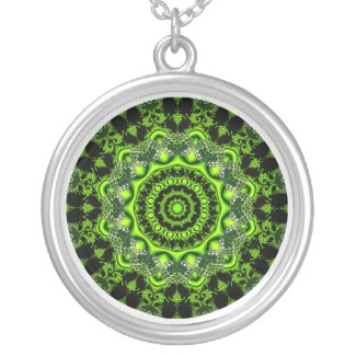 Forest Dome Mandala, Abstract Green Woods Personalized Necklace