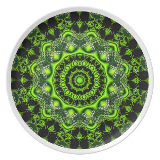 Forest Dome Mandala, Abstract Green Woods Plate