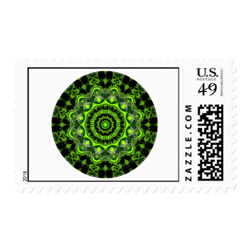 Forest Dome Mandala, Abstract Green Woods Postage