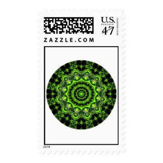 Forest Dome Mandala, Abstract Green Woods Postage Stamp