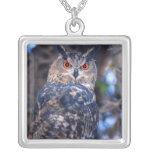 Forest Eagle Owl, Bubo bubo, Native to Eurasia 2 Square Pendant Necklace