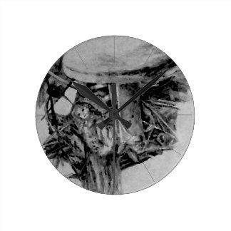 Forest Elf Fantasy Grey B/W Drawing Art Round Clock
