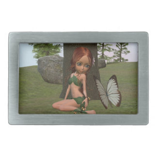 Forest Elf Girl and Butterfly Belt Buckle