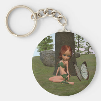 Forest Elf Girl and Butterfly Keychain